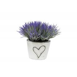 Maceta corazón c/planta lila