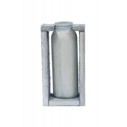 Botella  cristal c/base  madera