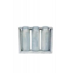 Botella cristal x 3 c/madera